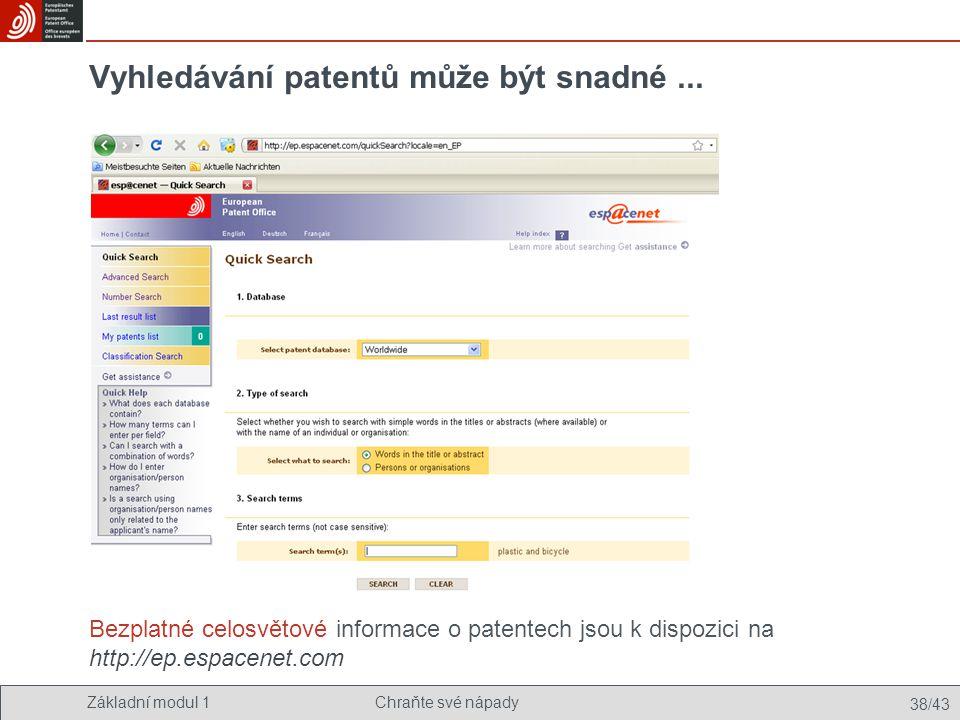 Vyhledávání patentů může být snadné ...