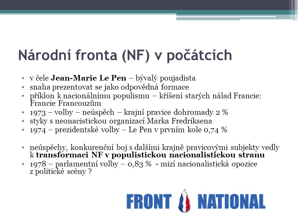 Národní fronta (NF) v počátcích