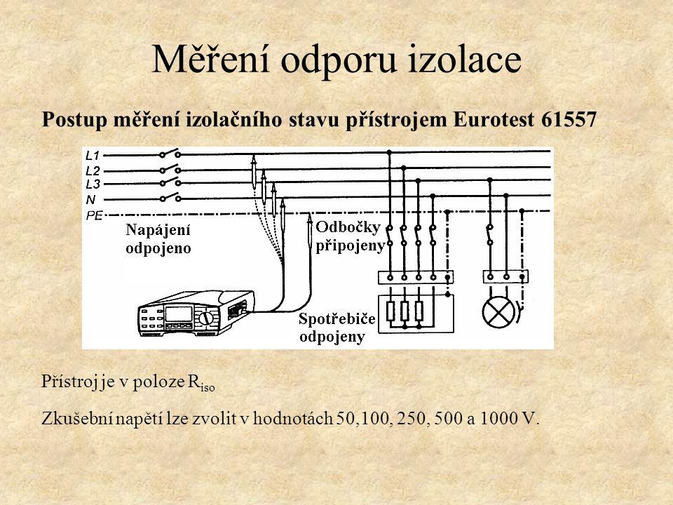 Měření odporu izolace Postup měření izolačního stavu přístrojem Eurotest 61557. Přístroj je v poloze Riso.