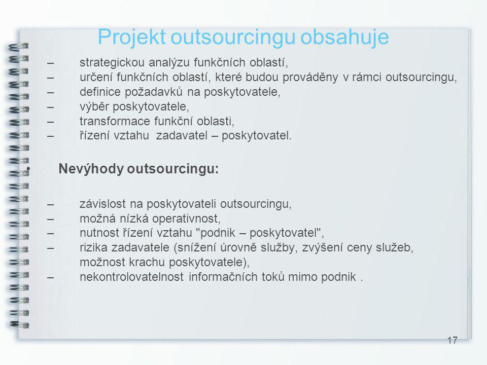 Projekt outsourcingu obsahuje
