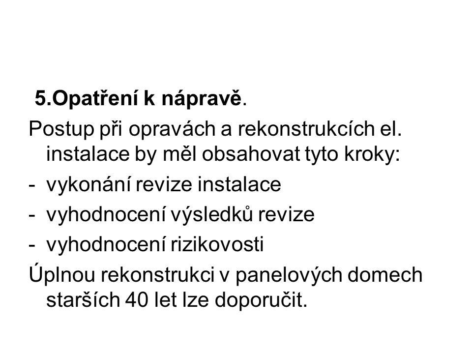 5.Opatření k nápravě. Postup při opravách a rekonstrukcích el. instalace by měl obsahovat tyto kroky:
