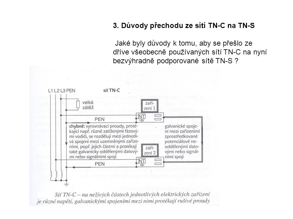 3. Důvody přechodu ze sítí TN-C na TN-S