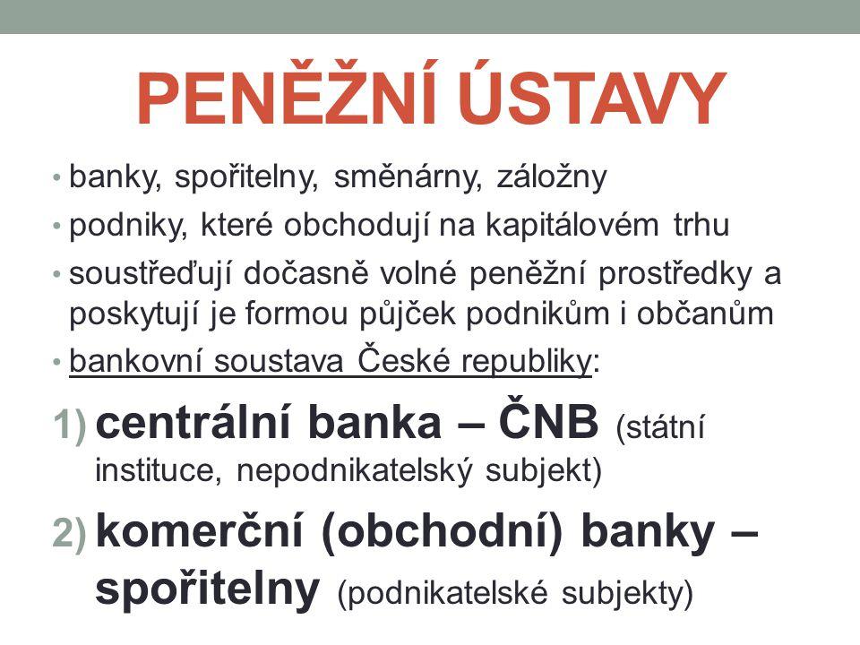 PENĚŽNÍ ÚSTAVY banky, spořitelny, směnárny, záložny. podniky, které obchodují na kapitálovém trhu.