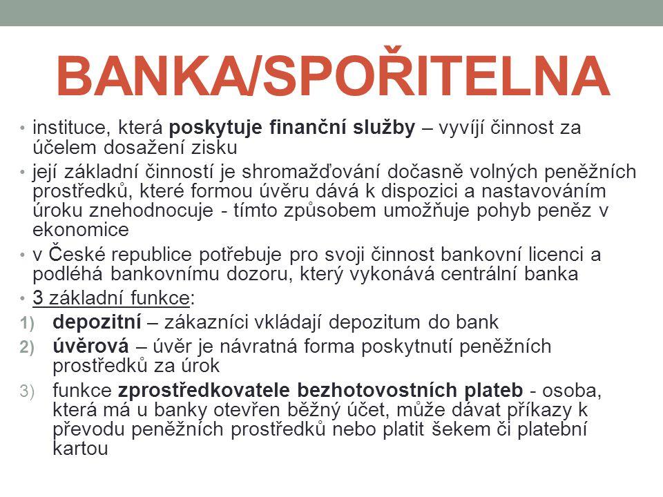 BANKA/SPOŘITELNA instituce, která poskytuje finanční služby – vyvíjí činnost za účelem dosažení zisku.