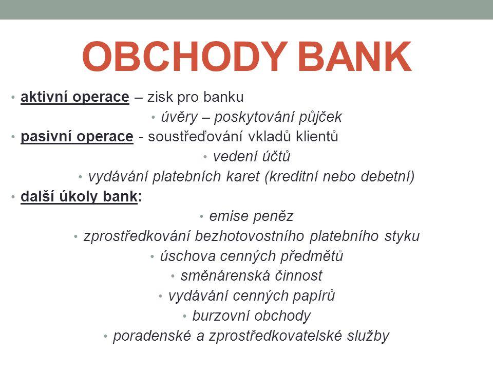 OBCHODY BANK aktivní operace – zisk pro banku