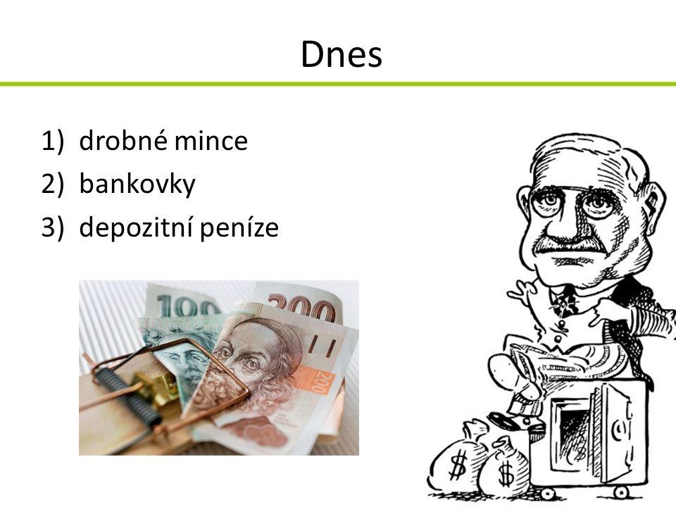 Dnes drobné mince bankovky depozitní peníze