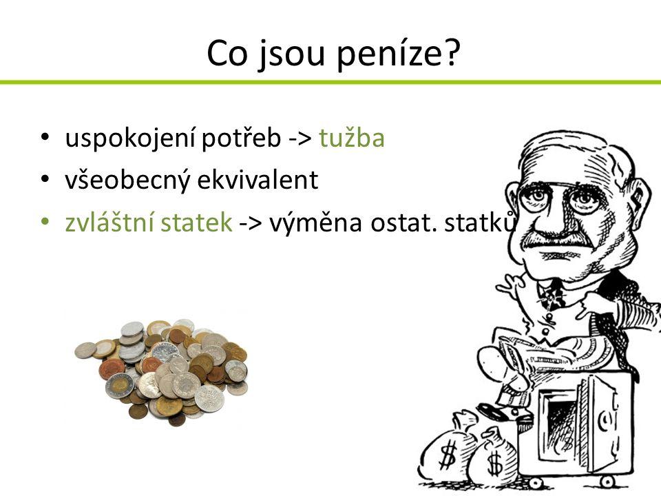 Co jsou peníze uspokojení potřeb -> tužba všeobecný ekvivalent
