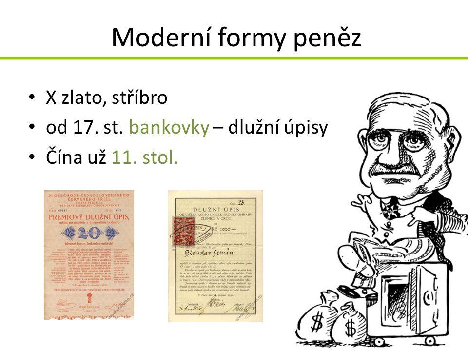 Moderní formy peněz X zlato, stříbro