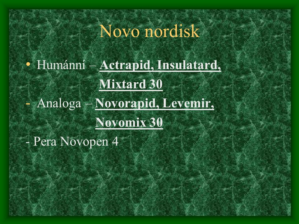Novo nordisk Humánní – Actrapid, Insulatard, Mixtard 30