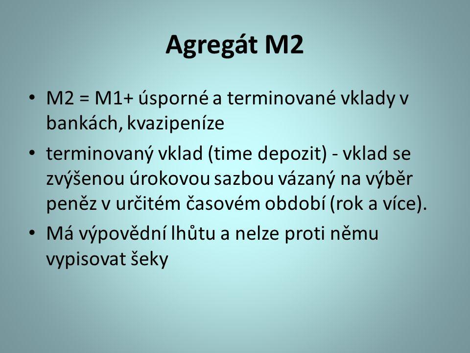 Agregát M2 M2 = M1+ úsporné a terminované vklady v bankách, kvazipeníze.