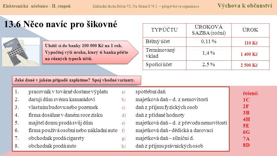 13.6 Něco navíc pro šikovné TYP ÚČTU ÚROKOVÁ SAZBA (roční) ÚROK