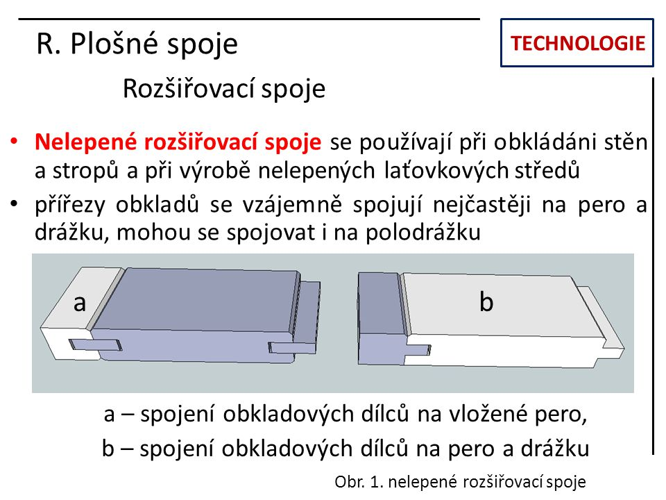 R. Plošné spoje Rozšiřovací spoje a b