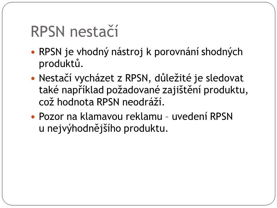 RPSN nestačí RPSN je vhodný nástroj k porovnání shodných produktů.