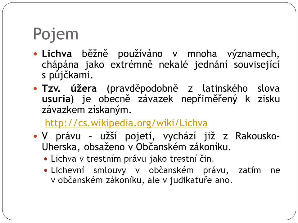 Pojem Lichva běžně používáno v mnoha významech, chápána jako extrémně nekalé jednání související s půjčkami.