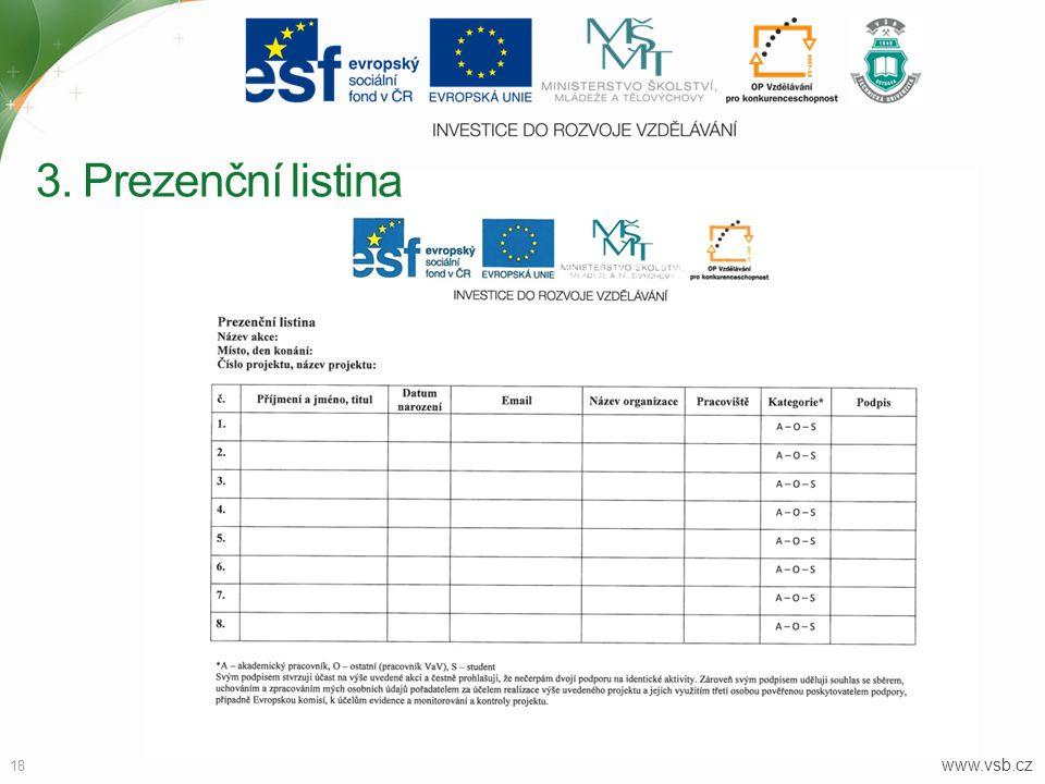 3. Prezenční listina www.vsb.cz