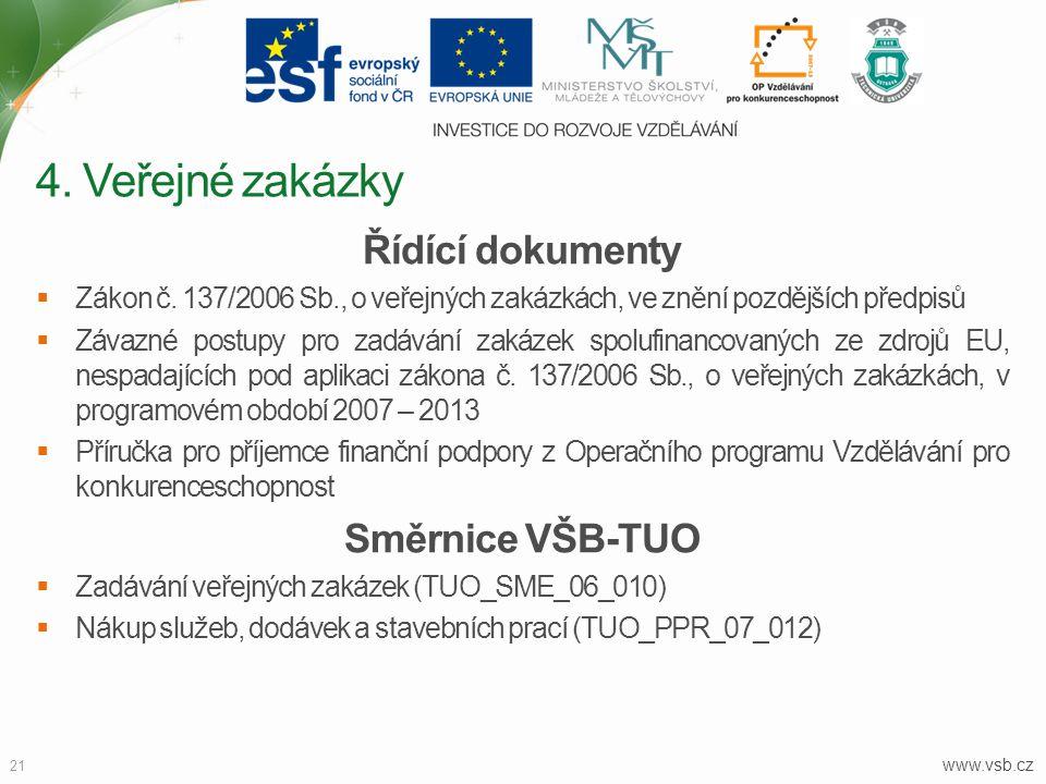 4. Veřejné zakázky Řídící dokumenty Směrnice VŠB-TUO