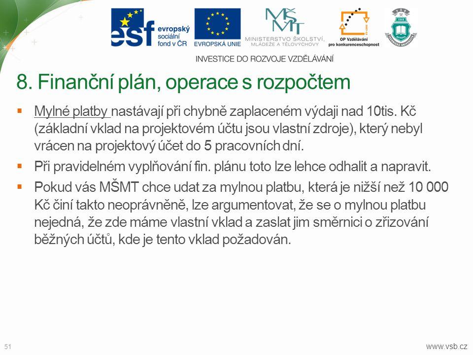 8. Finanční plán, operace s rozpočtem