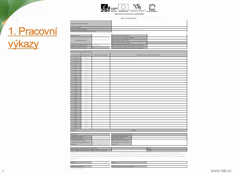 1. Pracovní výkazy www.vsb.cz
