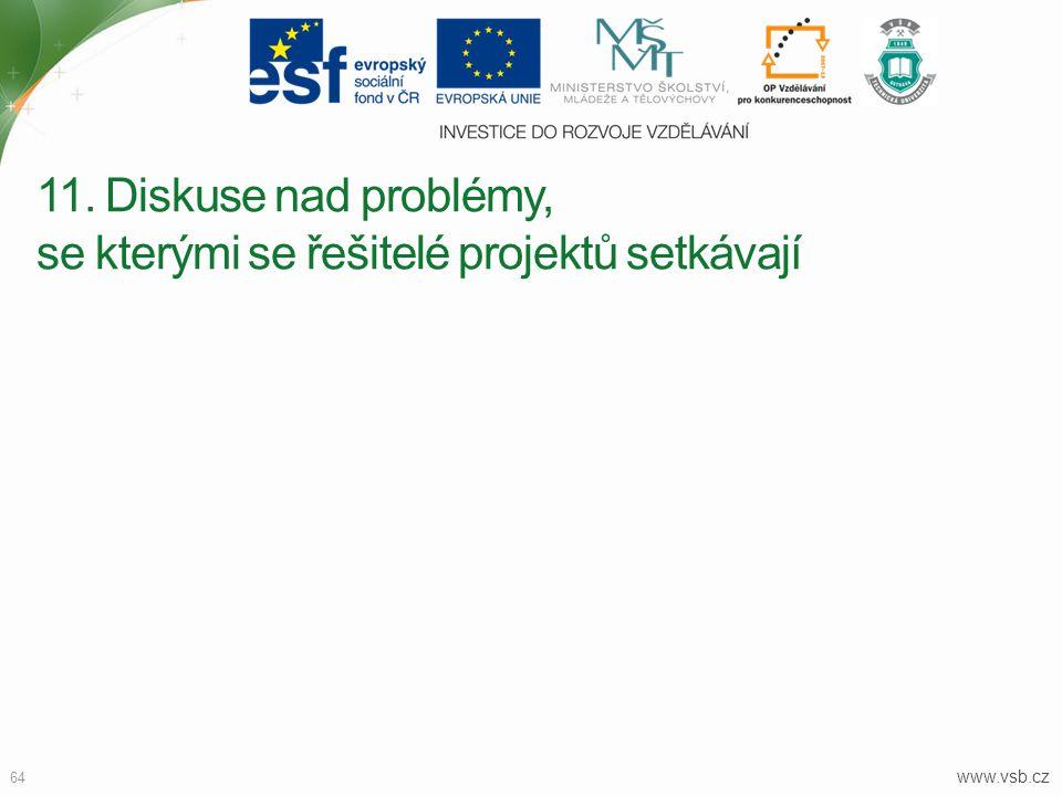 11. Diskuse nad problémy, se kterými se řešitelé projektů setkávají