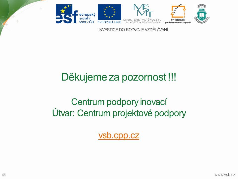 Děkujeme za pozornost !!! Centrum podpory inovací Útvar: Centrum projektové podpory vsb.cpp.cz