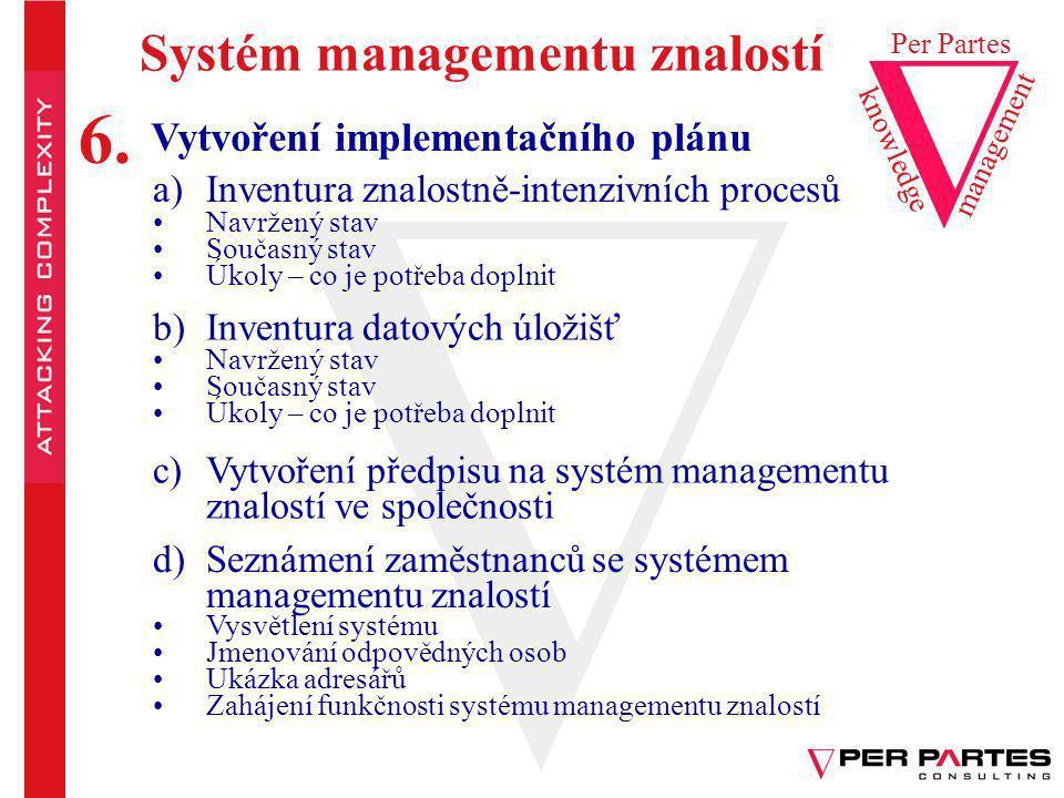 6. Systém managementu znalostí Vytvoření implementačního plánu