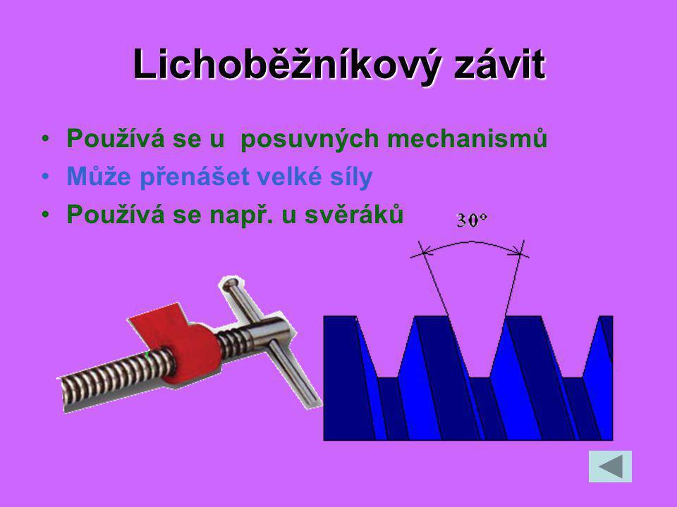 Lichoběžníkový závit Používá se u posuvných mechanismů