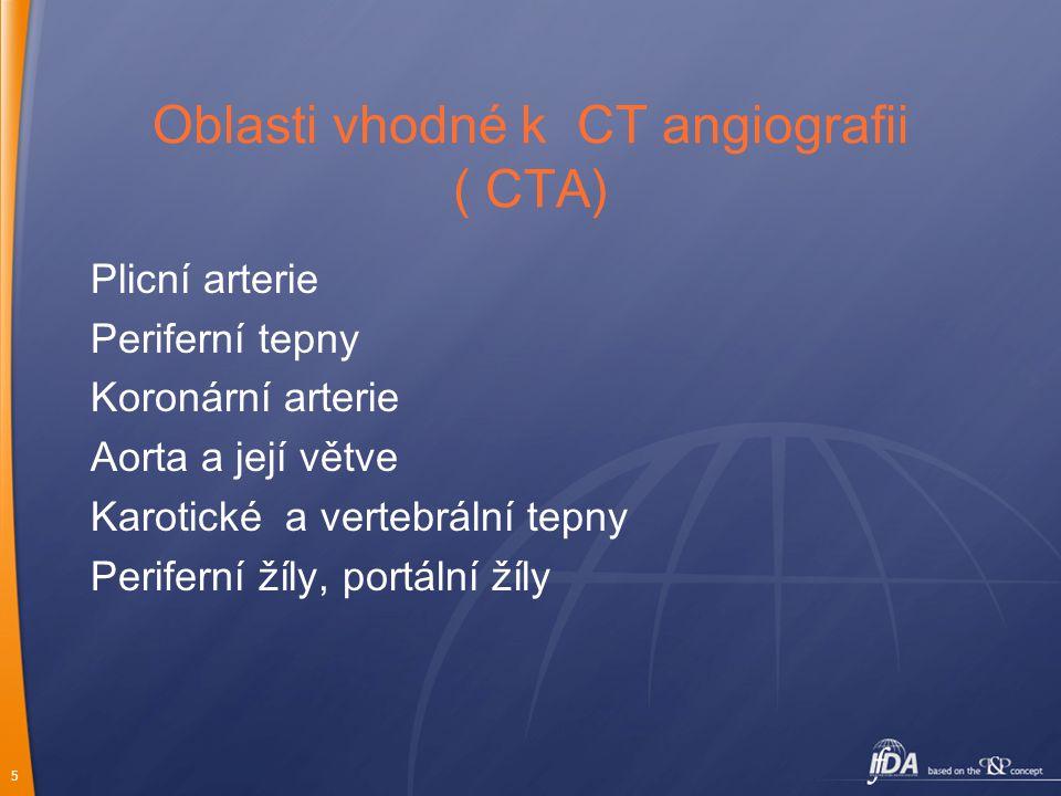 Oblasti vhodné k CT angiografii ( CTA)