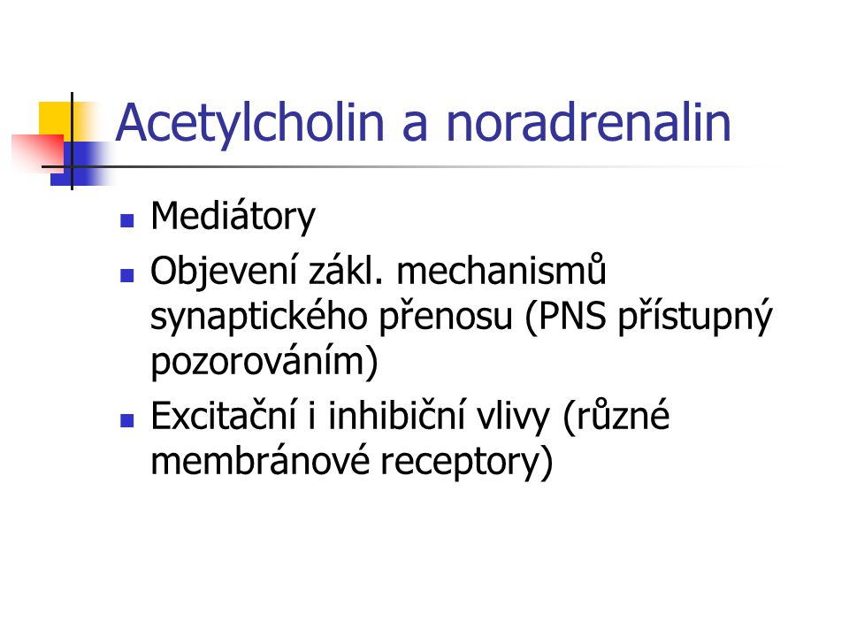 Acetylcholin a noradrenalin