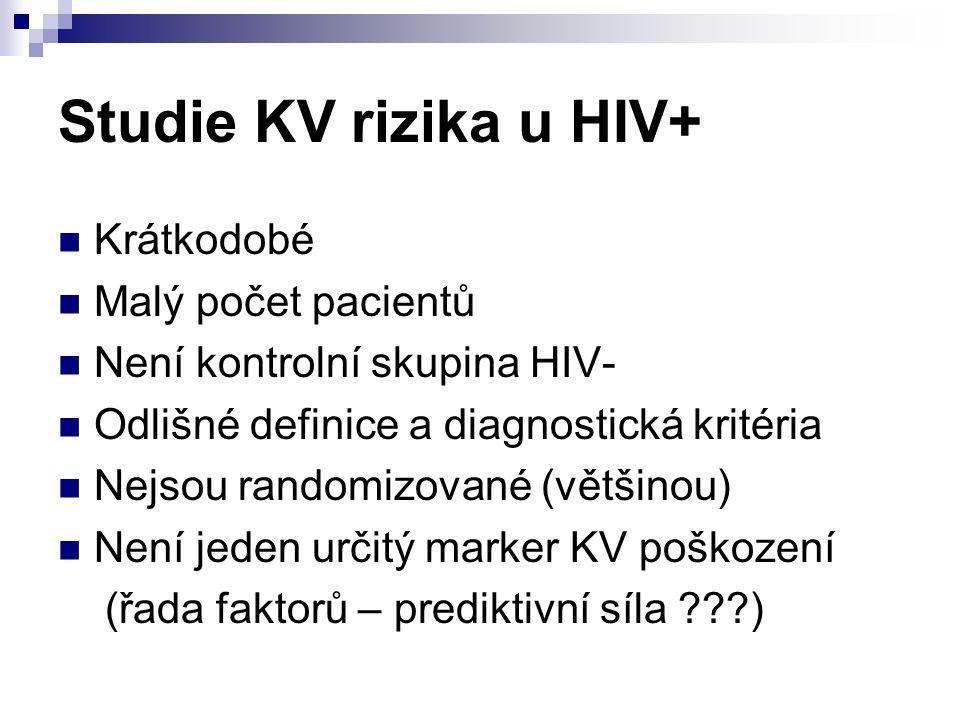 Studie KV rizika u HIV+ Krátkodobé Malý počet pacientů