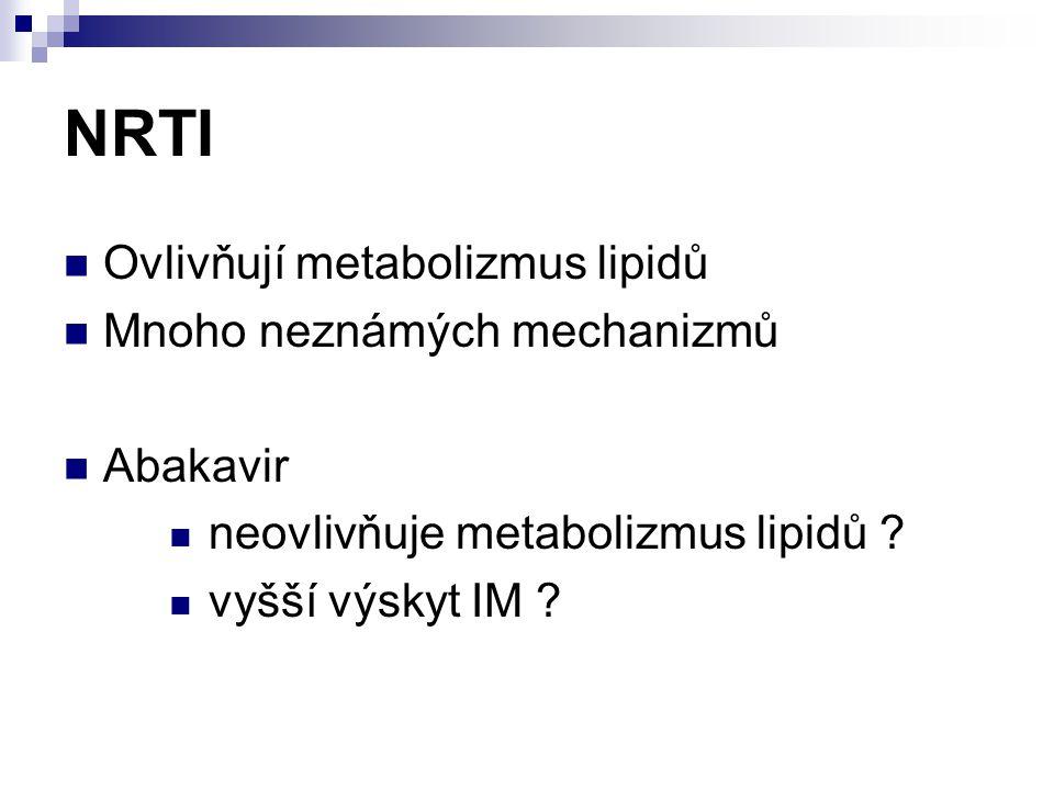 NRTI Ovlivňují metabolizmus lipidů Mnoho neznámých mechanizmů Abakavir