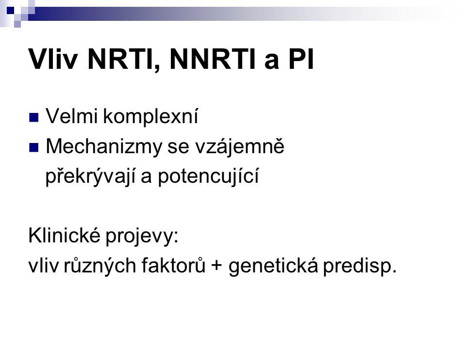 Vliv NRTI, NNRTI a PI Velmi komplexní Mechanizmy se vzájemně