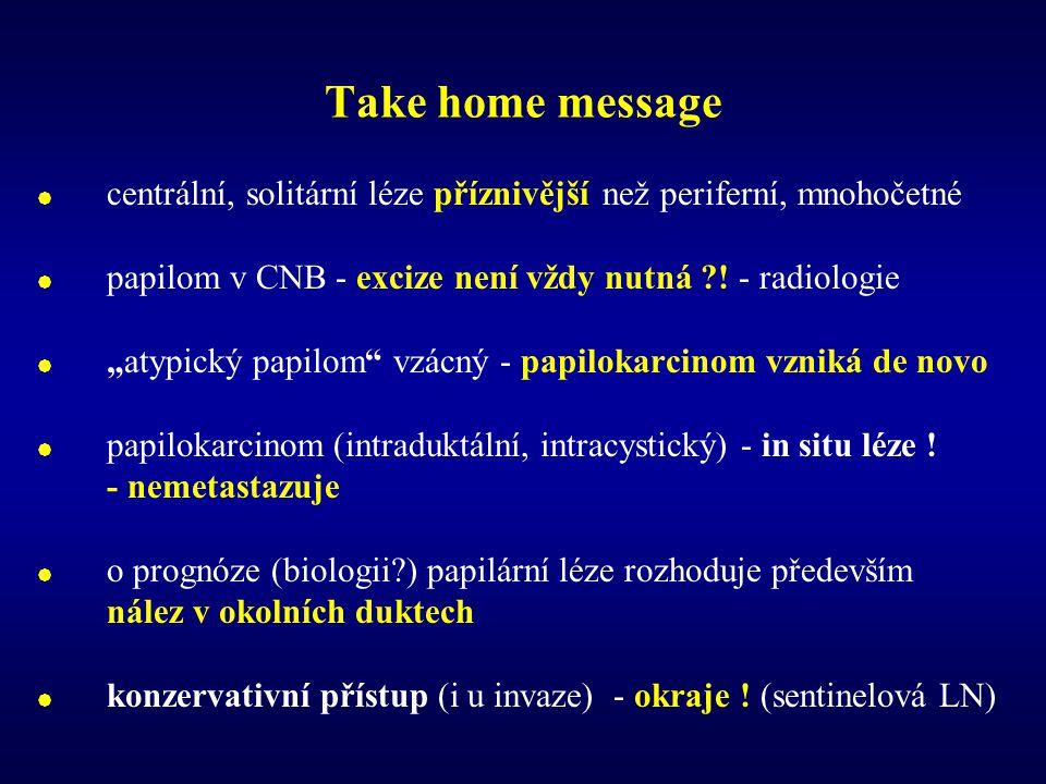 Take home message centrální, solitární léze příznivější než periferní, mnohočetné. papilom v CNB - excize není vždy nutná ! - radiologie.