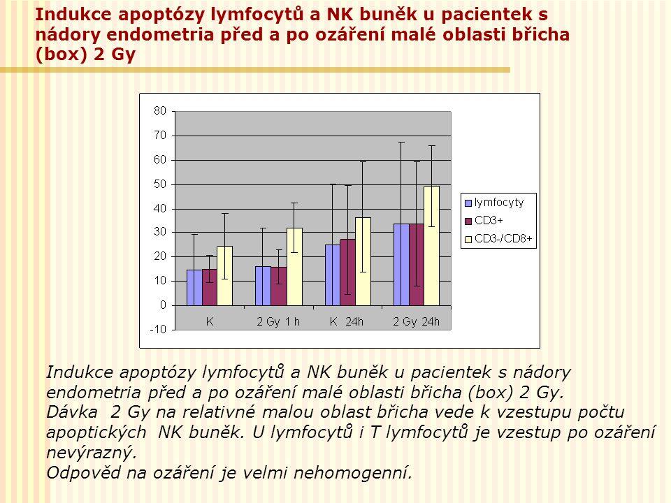 Indukce apoptózy lymfocytů a NK buněk u pacientek s nádory endometria před a po ozáření malé oblasti břicha (box) 2 Gy