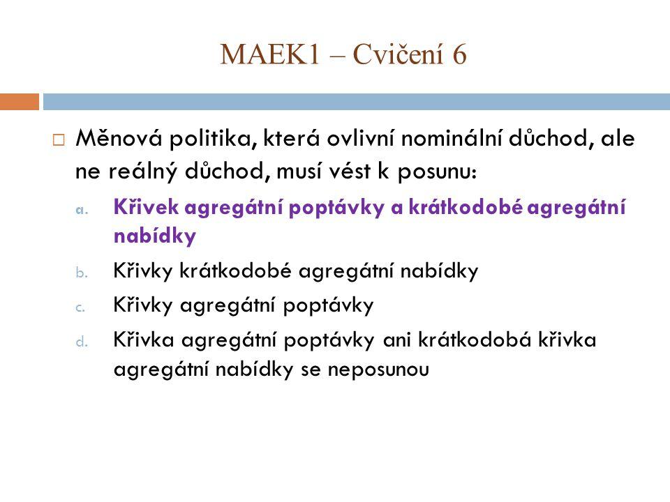 MAEK1 – Cvičení 6 Měnová politika, která ovlivní nominální důchod, ale ne reálný důchod, musí vést k posunu: