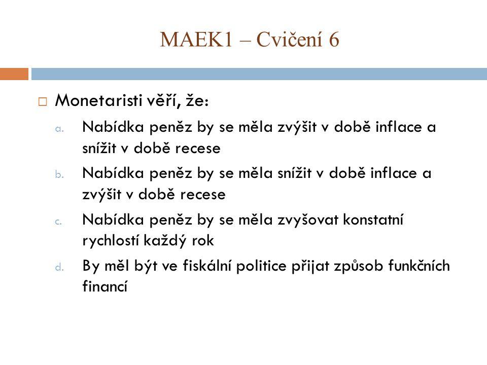 MAEK1 – Cvičení 6 Monetaristi věří, že: