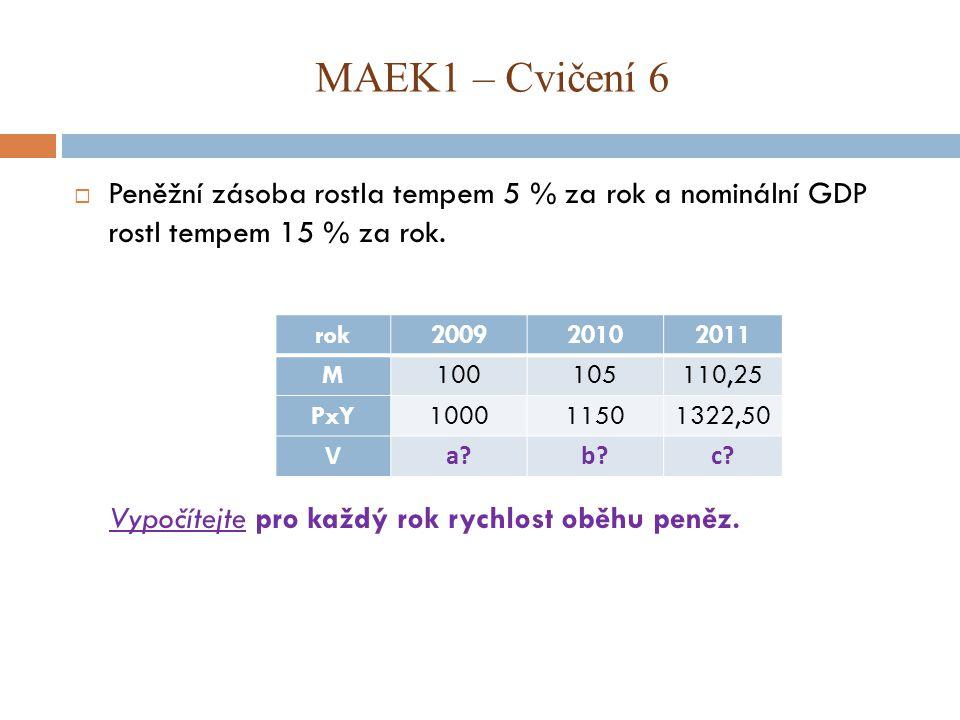 MAEK1 – Cvičení 6 Peněžní zásoba rostla tempem 5 % za rok a nominální GDP rostl tempem 15 % za rok.
