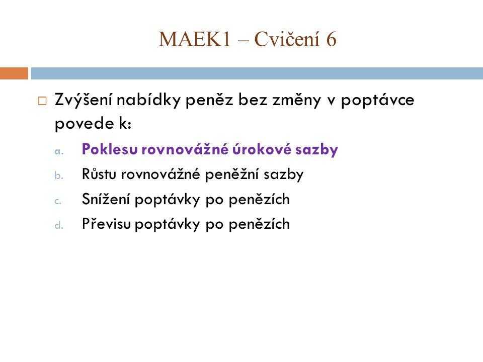 MAEK1 – Cvičení 6 Zvýšení nabídky peněz bez změny v poptávce povede k: