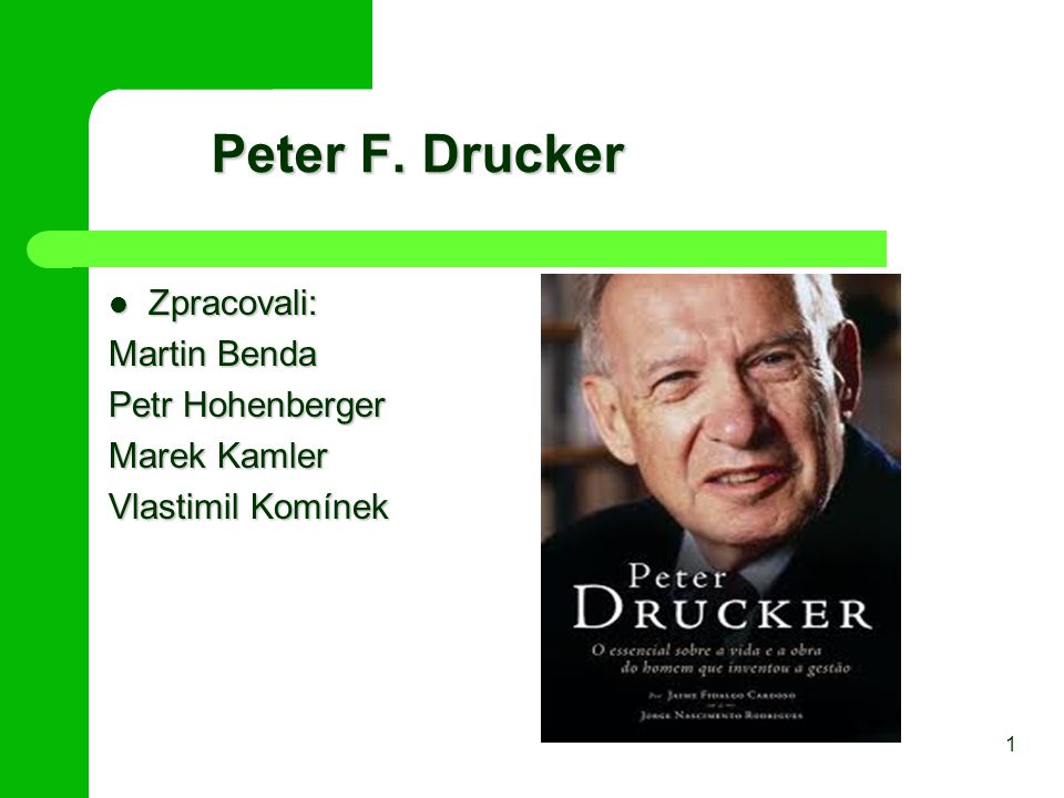 Peter F. Drucker Zpracovali: Martin Benda Petr Hohenberger