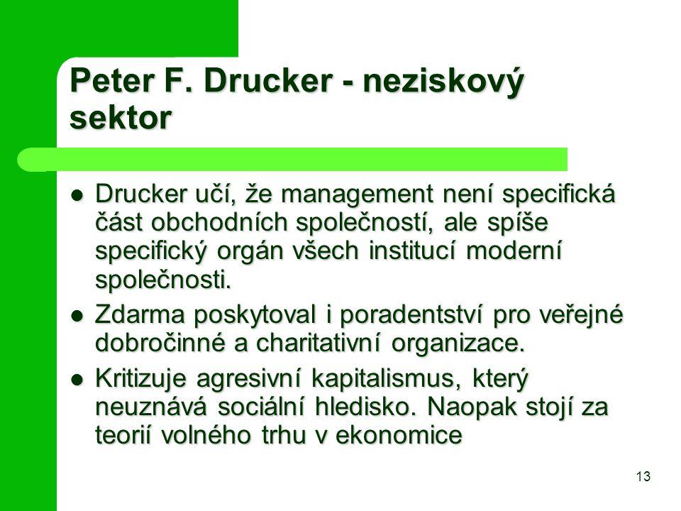 Peter F. Drucker - neziskový sektor