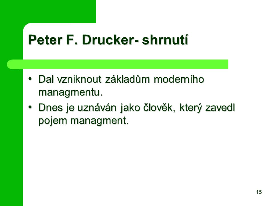 Peter F. Drucker- shrnutí