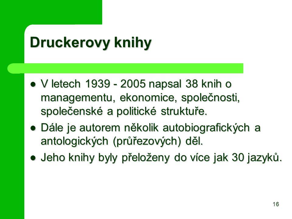 Druckerovy knihy V letech 1939 - 2005 napsal 38 knih o managementu, ekonomice, společnosti, společenské a politické struktuře.