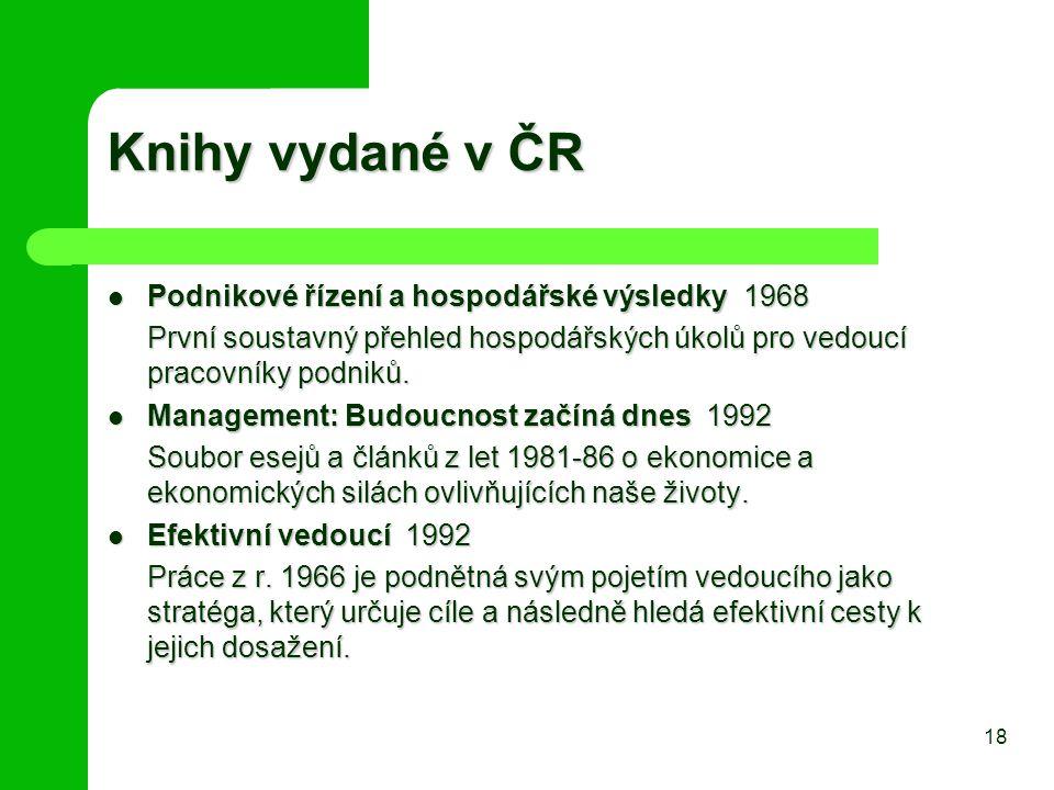 Knihy vydané v ČR Podnikové řízení a hospodářské výsledky 1968