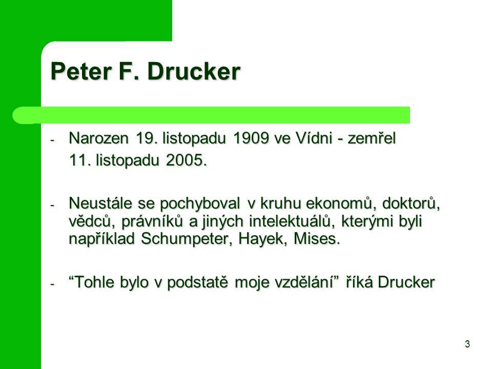 Peter F. Drucker Narozen 19. listopadu 1909 ve Vídni - zemřel