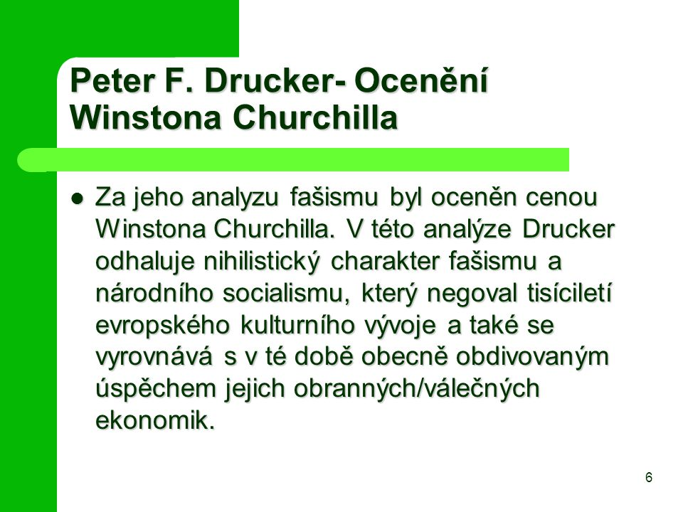 Peter F. Drucker- Ocenění Winstona Churchilla