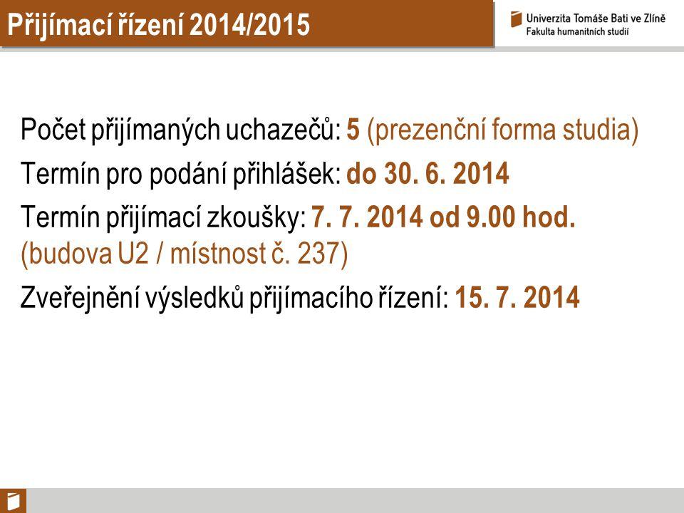 Přijímací řízení 2014/2015