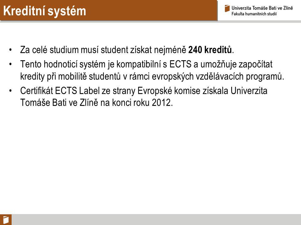 Kreditní systém Za celé studium musí student získat nejméně 240 kreditů.