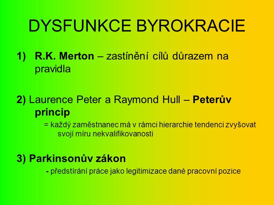 DYSFUNKCE BYROKRACIE R.K. Merton – zastínění cílů důrazem na pravidla