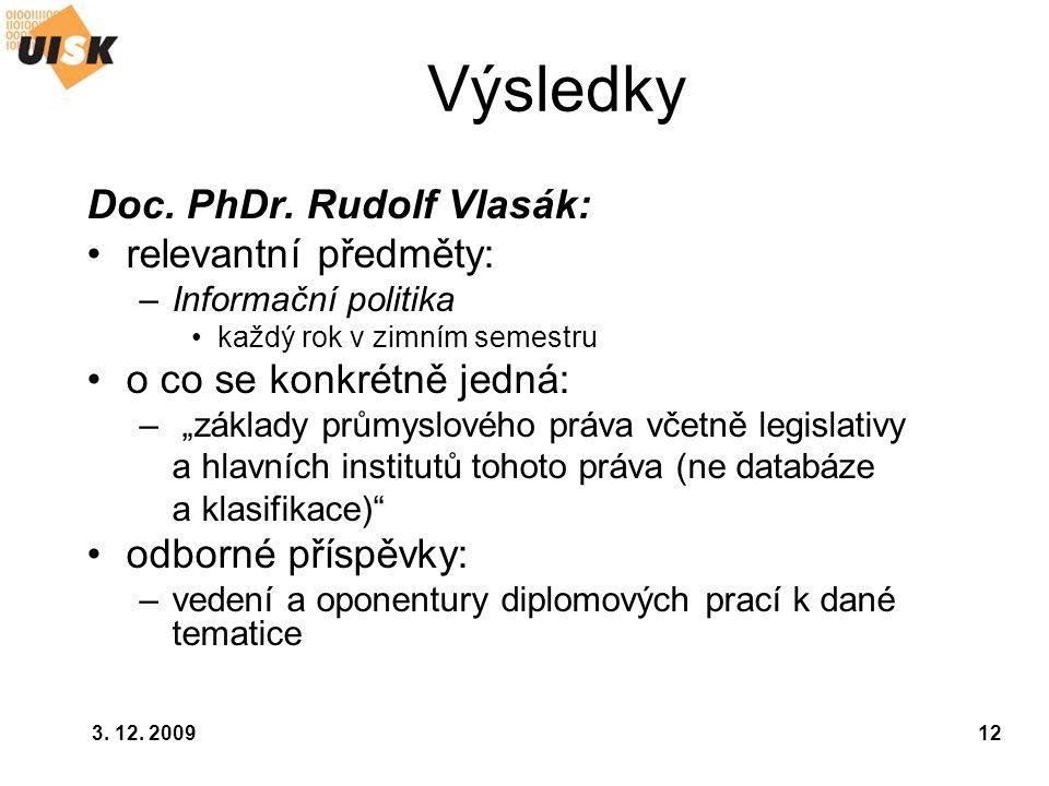 Výsledky Doc. PhDr. Rudolf Vlasák: relevantní předměty: