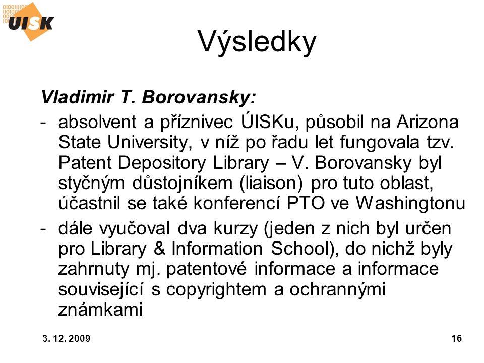 Výsledky Vladimir T. Borovansky: