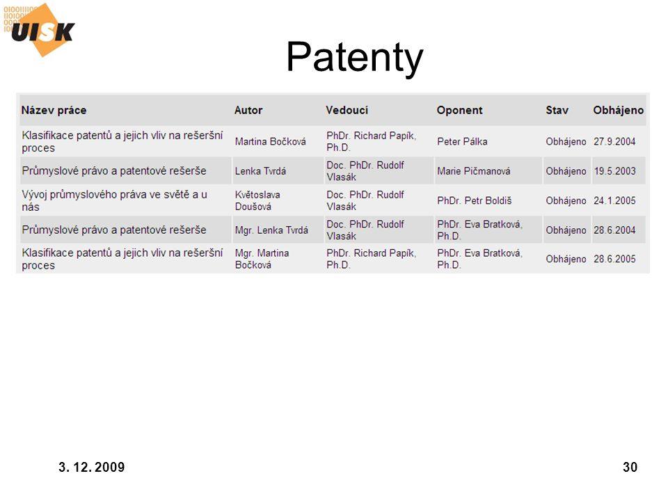 Patenty 3. 12. 2009